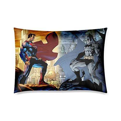 Ideas Decorations Superheroes (Home Decor Custom Superhero Series Superman and Batman Zippered Pillow Case Twin Sides 20x30)