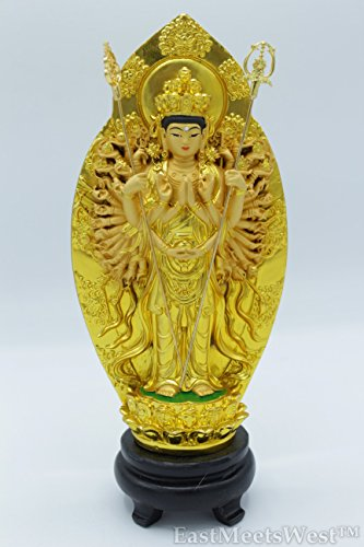 (Chinese Gold Thousand Hand Mercy Kwan Yin | Guan Yin Feng Shui Protection Statue)