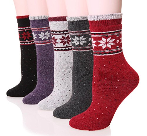 Womens Wool Socks Thick Heavy Thermal Fuzzy Winter Warm Snowflake Crew Socks For Cold Weather 5 Pack (Pattern)
