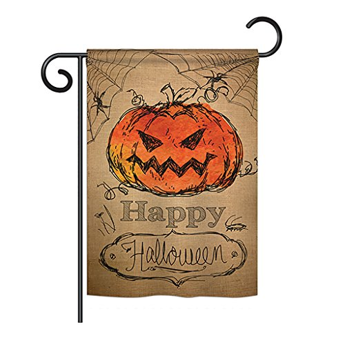 Cheap Ornament Collection GS191023-BO Happy Halloween Fall Halloween Impressions Decorative Vertical 13″ x 18.5″ Double Sided Garden Flag Set with Banner Pole Included Printed in USA