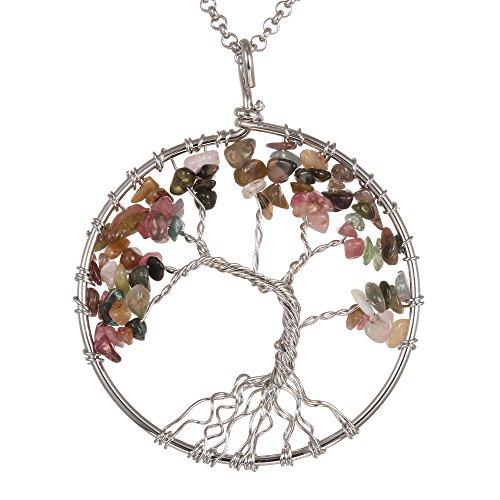 Gemstone Necklace Pendant BRCbeads Stainless