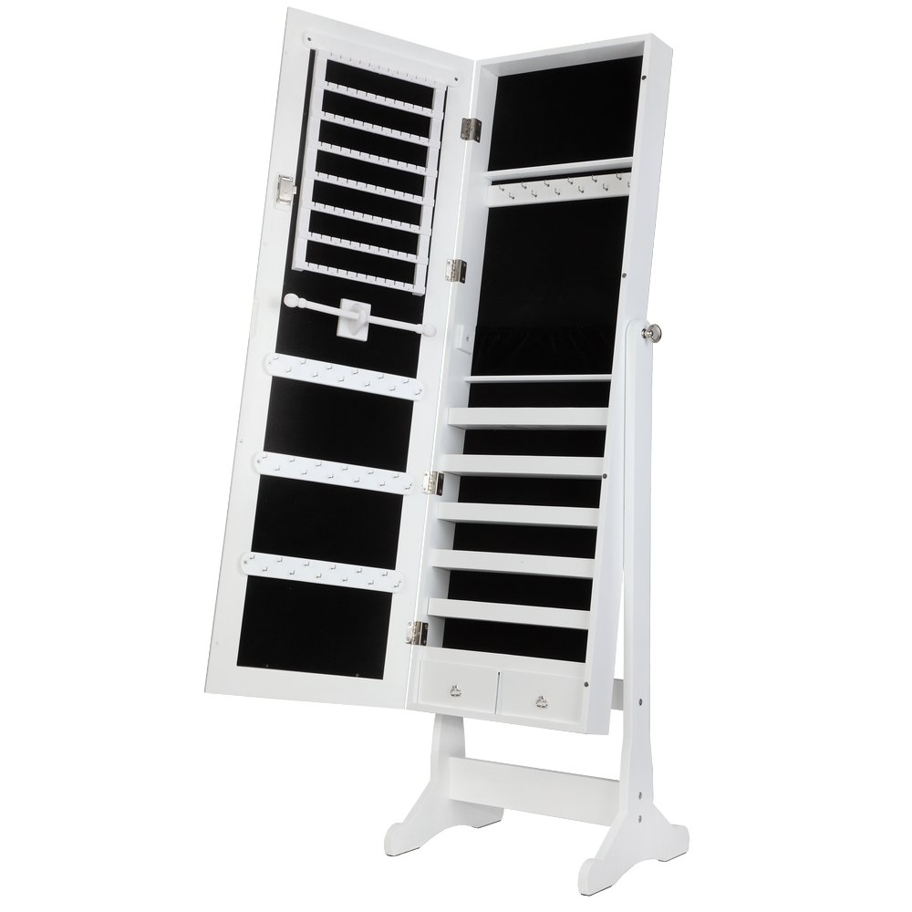 Homegear Modern Mirrored Jewelry Cabinet with Stand Armoire Organizer Storage White by Homegear (Image #7)