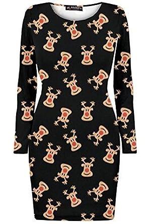 6ff26470f6a139 Oops Outlet Damen Kurzes Kleid Weihnachtsbäume Weihnachten Weihnachtsmann  Olaf Schneemann Rentier Rudolph Geschenk Glocken Der Gegenwart