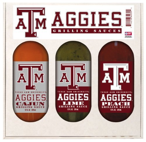 Texas A & M Aggies Grilling Gift Set 3-12 oz (Cajun, Lime and Peach) by Hot Sauce Harry's