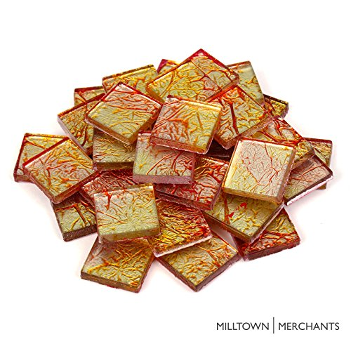 Milltown Merchants™ 3/4 Inch (20mm) Foil Mosaic Tile, 1 Pound (16 oz. Bag) (1 Pound, Yellow-Orange)