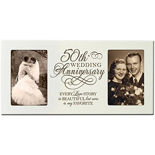 LifeSong Milestones 50th Wedding Anniversary Picture Frame Every Love Story Is Beautiful but Ours Is My Favorite Holds 2- 4x6 Photos (Ivory)