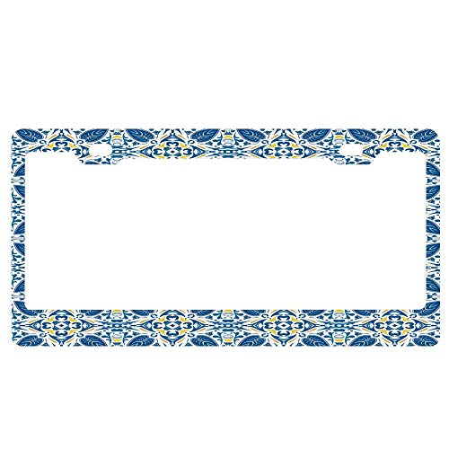 ABLnewitemFrameFF Portuguese Traditional Tiles Abstract Mosaic Floral Swirl Motifs License Plate Novelty Auto Car Tag Aluminum License Plate Cover .(12x6)