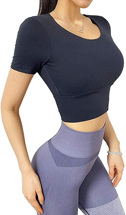Angcoco Womens Long Sleeve Light-Padded Strappy Backless Workout Tops with Thumb Hole