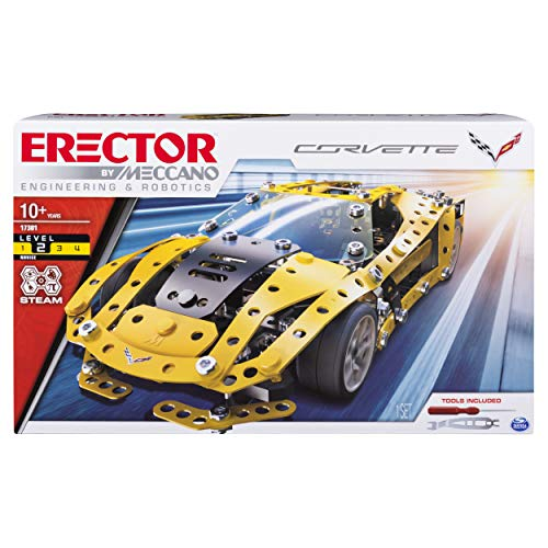 Meccano Erector, Chevrolet Corvette Model Stem Building Kit, for Ages 10 & Up