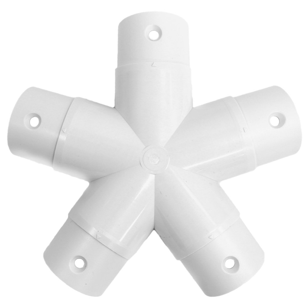 Sonostar Hub - Geodesic 5-Star 1'' | 1.5'' PVC Mega Hub Dome Connector (White) (1'' PVC | 2'' Bolts)