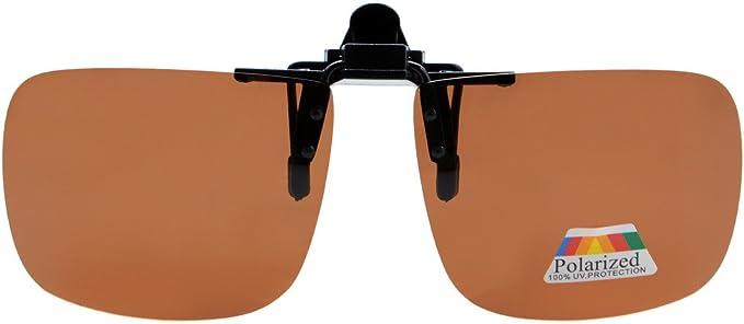 Eyekepper Gafas de Sol Polarizadas Cuadradas Volvuetas con Clip Marrón
