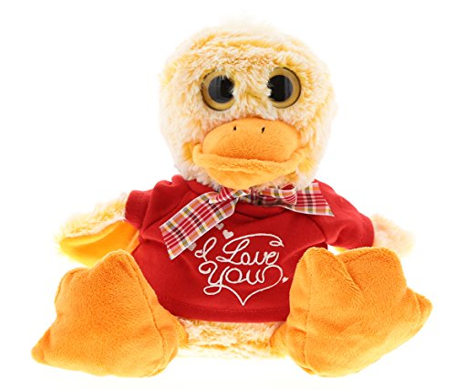 DolliBu Sitting Duck I Love You Valentines Stuffed Animal - Red Message Tshirt - 7 inch - Super Soft Plush - Item #K5192-5994