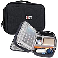 BUBM 7.9 Travel Universal Cable Organizer Electronics Accessories Cases For USB, Phone, Charger Cable Handbag (S,Black,7.9)