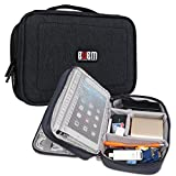 BUBM Nylon Shockproof Electronic Organizer Double Layer Travel Gadget Carrying Bag For Plugs USB Battery Cable Flash Hard Drive And More (M, Black)