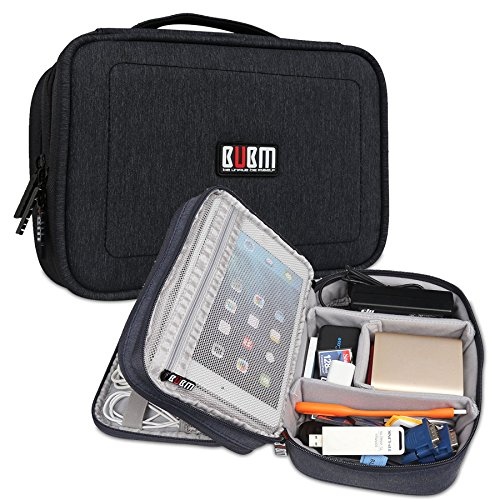 BUBM Nylon Shockproof Electronic Organizer Double Layer Travel Gadget Carrying Bag For Plugs USB Battery Cable Flash Hard Drive And More (M, Black) by BUBM