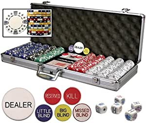 Premium Set of 500 Diamond Suited 11.5 gr Poker Chips w/6 Dealer Buttons