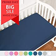TILLYOU Microfiber Silky Soft Crib Sheets Boy, Fitted Toddler Mattress Sheets, Breathable Soft Cozy Hypoallergenic Baby Sheet, Navy Blue 28 x52