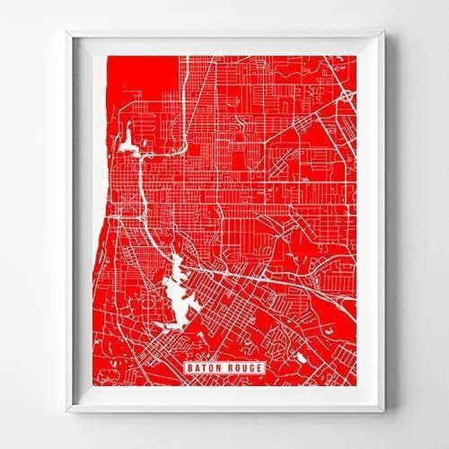 Amazon.com: Baton Rouge Louisiana Map Print Street Poster