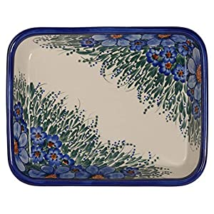 Traditional Polish Pottery, Lasagna Rectangular Casserole Baking Dish 10in / 25.5cm, Boleslawiec Style Pattern, O.101.Credo