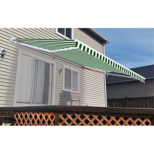ALEKO FAB10X8GRWT00 Retractable Awning Fabric Replacement 10 x 8 Feet Green and White Striped