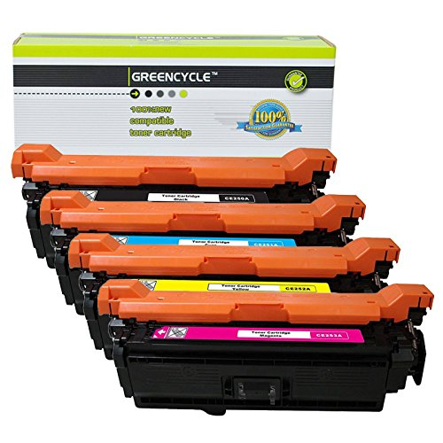 - GREENCYCLE 4 Pack Toner Cartridge Compatible for HP 504A CE250A CE251A CE252A CE253A Color Laserjet CP3520 CM3530 CM3530fs CP3525 CP3525dn CP3525n CP3525x CP3530 (1 Black,1 Cyan,1 Magenta,1 Yellow)