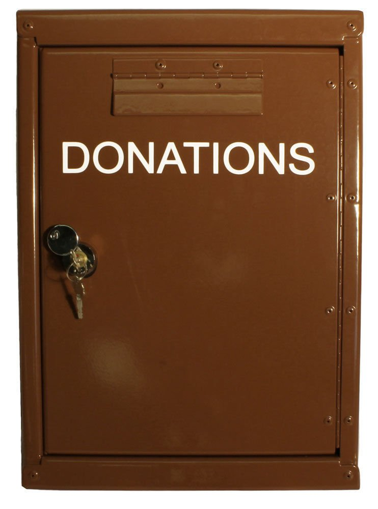 Outdoor Locked Donation Box with Rain Flap for Money Collecting - Aluminum
