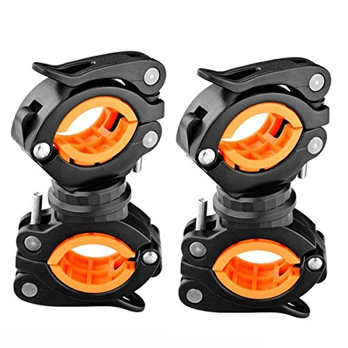 Vonpri [2 Pack] Flashlight Holder, Mount Bicycle Mounting Bracket Flashlight Holder Torch Clip 360º Rotation (Orange) (Bike Handlebar Flashlight)