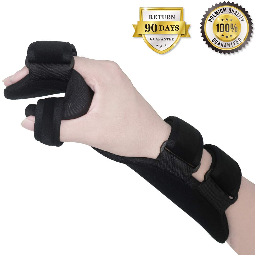 Soft Resting Hand Splint Night Wrist Splint Support Immobilizer Finger Wrist Fracture Fixation Scaffold for Pain Tendinitis Sprain Fracture Arthritis Dislocation (Right)