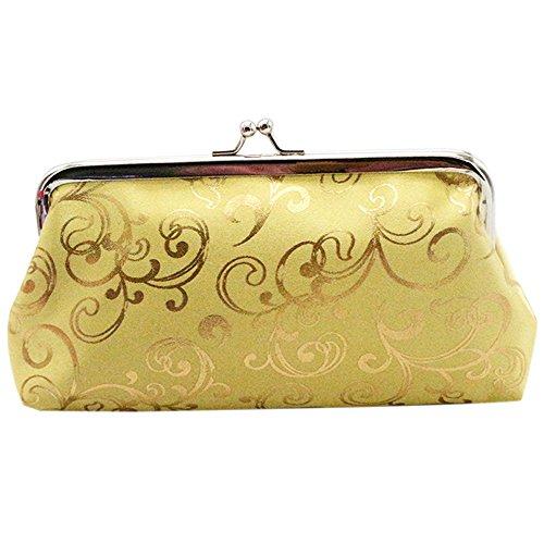 Card Red Floral Golden Purse Coin Women's Bag Rose Sanwood Holder Clutch Wallet W7UPP