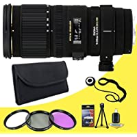 Sigma 70-200mm f/2.8 APO EX DG HSM OS FLD Telephoto Zoom Lens for Canon Digital DSLR Cameras + 77mm 3 Piece Filter Kit + Lens Cap Keeper + Deluxe Starter Kit DavisMax Bundle