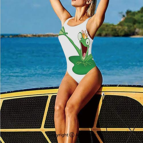 (Women's One Piece Swimsuits,Frog Prince with Crown in Romantic,Swimwear)