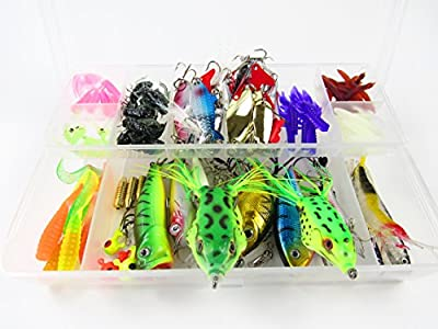 IsPerfect Fishing Lures ,Include Bass Trout , Vivid Spinner Baits,Serrated Knife, Topwater Frog Lures,Spoon Lures,Crankbaits Lures, Soft Plastic Lures, Tackle Box And More