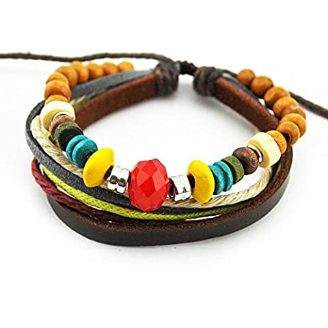 Real Spark Red Crystal Charm Colorful Wood Beads Leather String Multi Strands Adjustable Wrap (Slipknot Spikes)