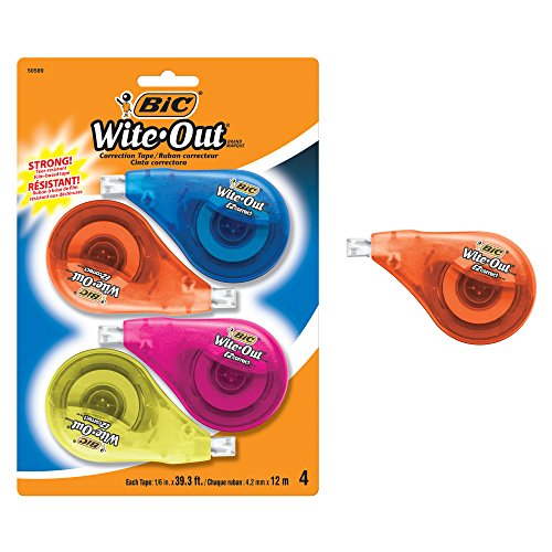 BIC Wite-Out Brand EZ Correct Correction Tape, White, 4-Count (Strip Out)