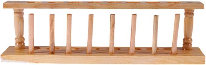 ULTECHNOVO Porta provette in Legno Supporto per provette a 8 Fori Supporto per Tubo Porta provette Accessorio da Laboratorio per Forniture Scolastiche da Laboratorio