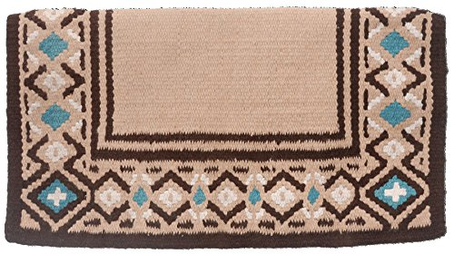 Tough 1 Diamond Wool Saddle Blanket, Tan/Brown/Turquoise