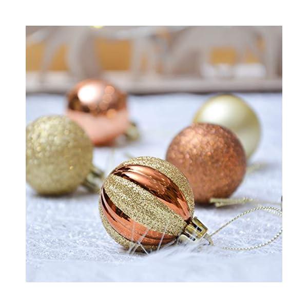 Valery Madelyn Palle di Natale 40 Pezzi 4 cm Palline di Natale, Legno Essenziale Rame e Oro, Base Infrangibile Ornamenti Palla di Natale Decorazione per Albero di Natale 7 spesavip