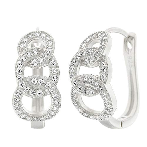.925 Sterling Silver Womens Cubic Zirconia CZ Graduated 3 Link Chain Clear Micro Pave Small Leverback Earrings - Link Pave Earrings