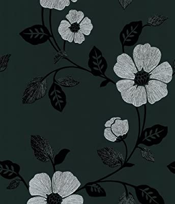 Brewster 414-46962 Maddison Black French Floral Wallpaper