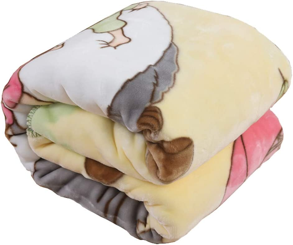 """HOLY HOME Kid's Cloud Blanket Double Faced Ultra Soft Coral Flannel Printing Bedclothes Anime Totoro 44""""x55"""" Beige"""