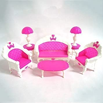 Amazon.com : YOIOY Barbie Doll House Living Room Furniture Table Set ...