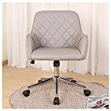 BERLMAN Stylish Office Chair PU Leather Mid Back Executive Home Office Chair with Adjustable Height, Desk Chair Task Chair Swivel Chair (Grey)