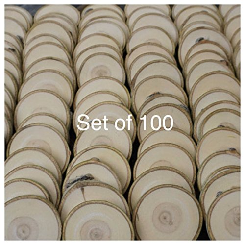 Set of 100 3''-3.5'' Wood Slices (Aspen) - Rustic Wedding Favors - Tree Slices - Wood Discs - Tree Log Coasters - Craft Pieces - Coasters