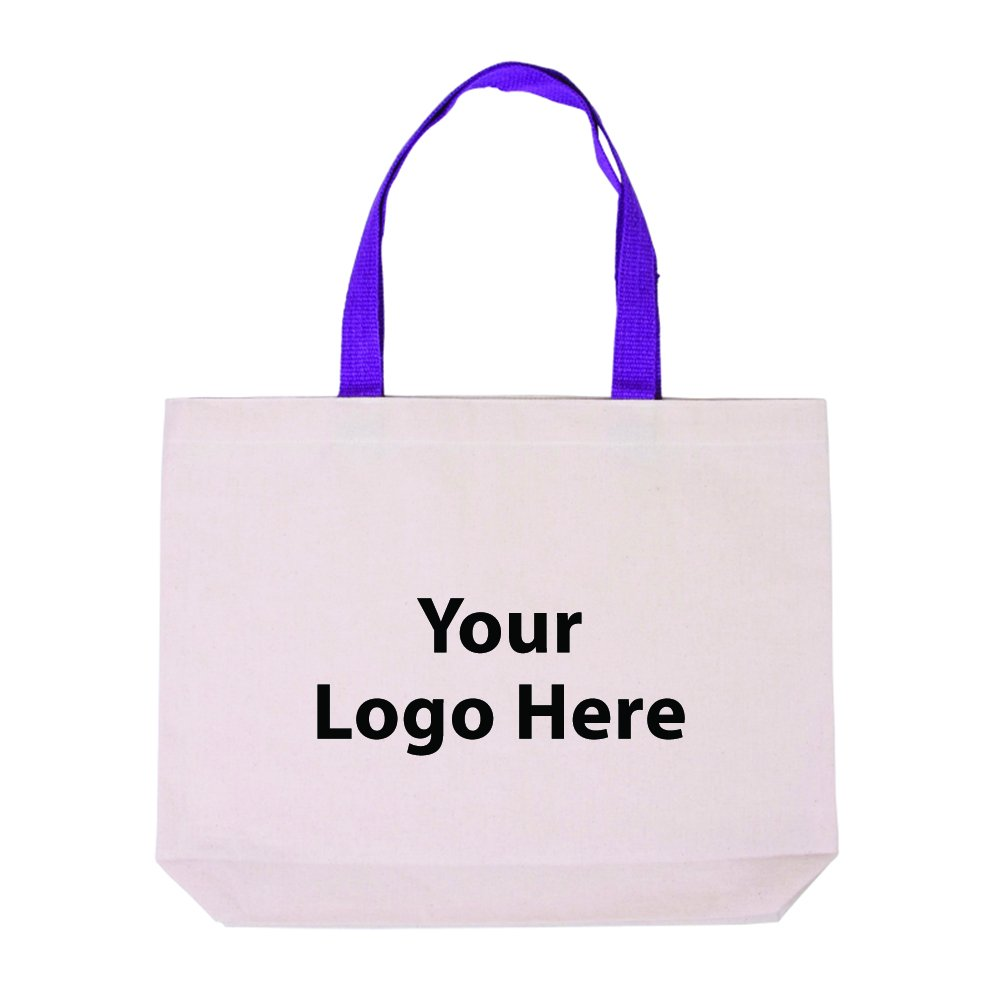 Cotton Canvas Tote With Gusset & Color Accent Handles - 50 Quantity - $4.65 Each - PROMOTIONAL PRODUCT / BULK / BRANDED with YOUR LOGO / CUSTOMIZED