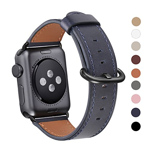Apple Watch Band 38mm, WFEAGL Retro Top Grain Leather Band Replacement Strap with Stainless Steel Clasp for iWatch Series 3,Series 2,Series 1,Sport, Edition (38mm Dark Blue Band+Black Buckle)