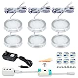 Kuniwa LED Under Cabinet Lighting Kit, Kitchen Puck Lights Dimmable 2W 1080lm Under Counter Lighting, Hand Wave Activated Switch Closet Lights, 3000K Warm White, Set of 6, All Accessories Included