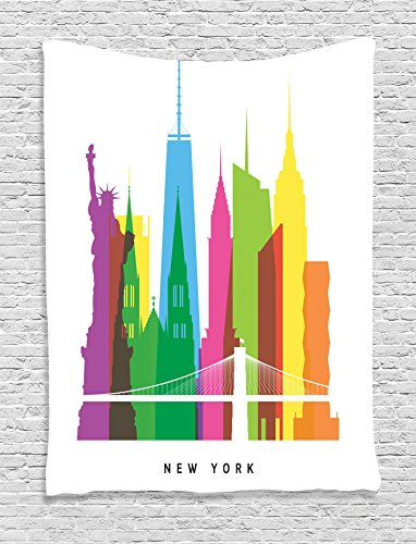 Ambesonne American Decor Tapestry, Landmarks of New York City Liberty Statue Empire State St Patrick Cathedral Us Architecture, Bedroom Living Room Dorm Decor, 40 W x 60 L inches, - Cathedral St Patrick
