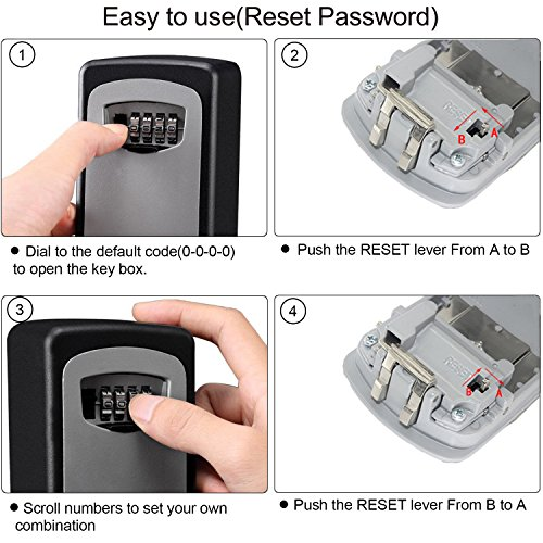 Key Lock Box, Gracesy 4-Digit Combination Key Safe Box, Wall Mounted Key  Lock Box, Waterproof Weather Resistant Cover for Indoors and Outdoors  