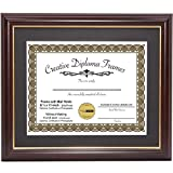 #8: CreativePF [11x14mh.gd] Mahogany Frame with Gold Rim, Black Matting Holds 8.5 by 11-inch Diploma with Easel and installed Hangers
