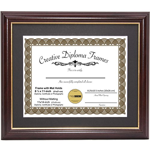 CreativePF [11x14mh.gd] Mahogany Frame with Gold Rim, Black Matting Holds 8.5 by 11-inch Diploma with Easel and Installed Hangers ()
